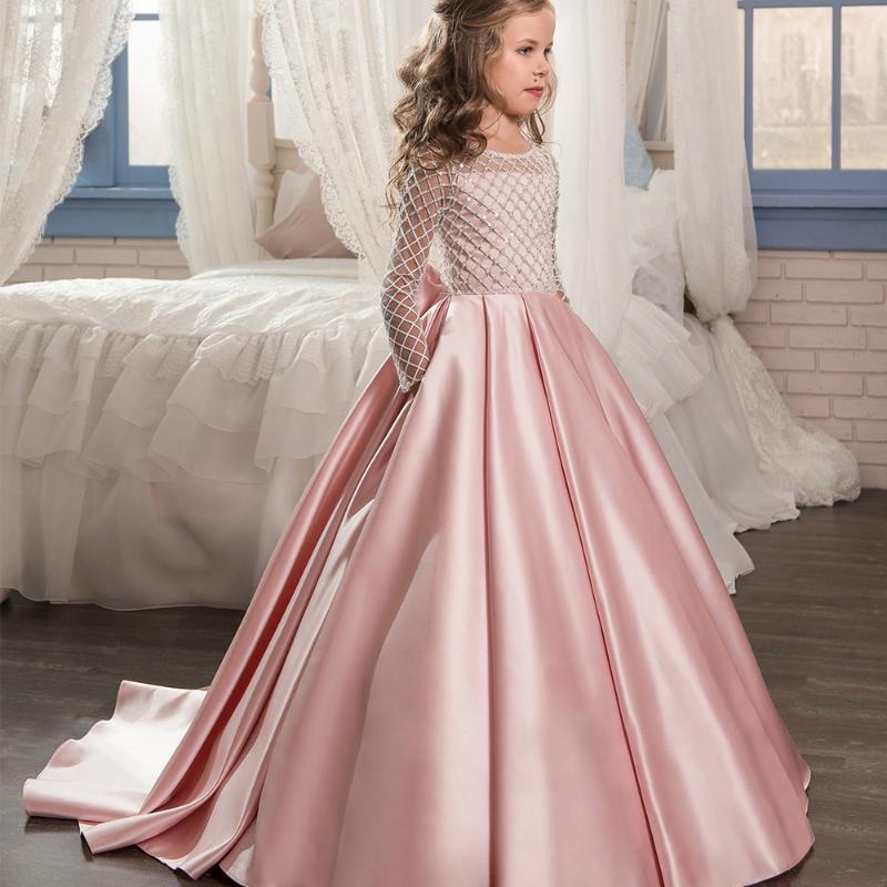Nouvelle robes fille fleur demi-manches O-cou perlage robe de bal formelle solide première communion Robes Custom Made Vestido Longo