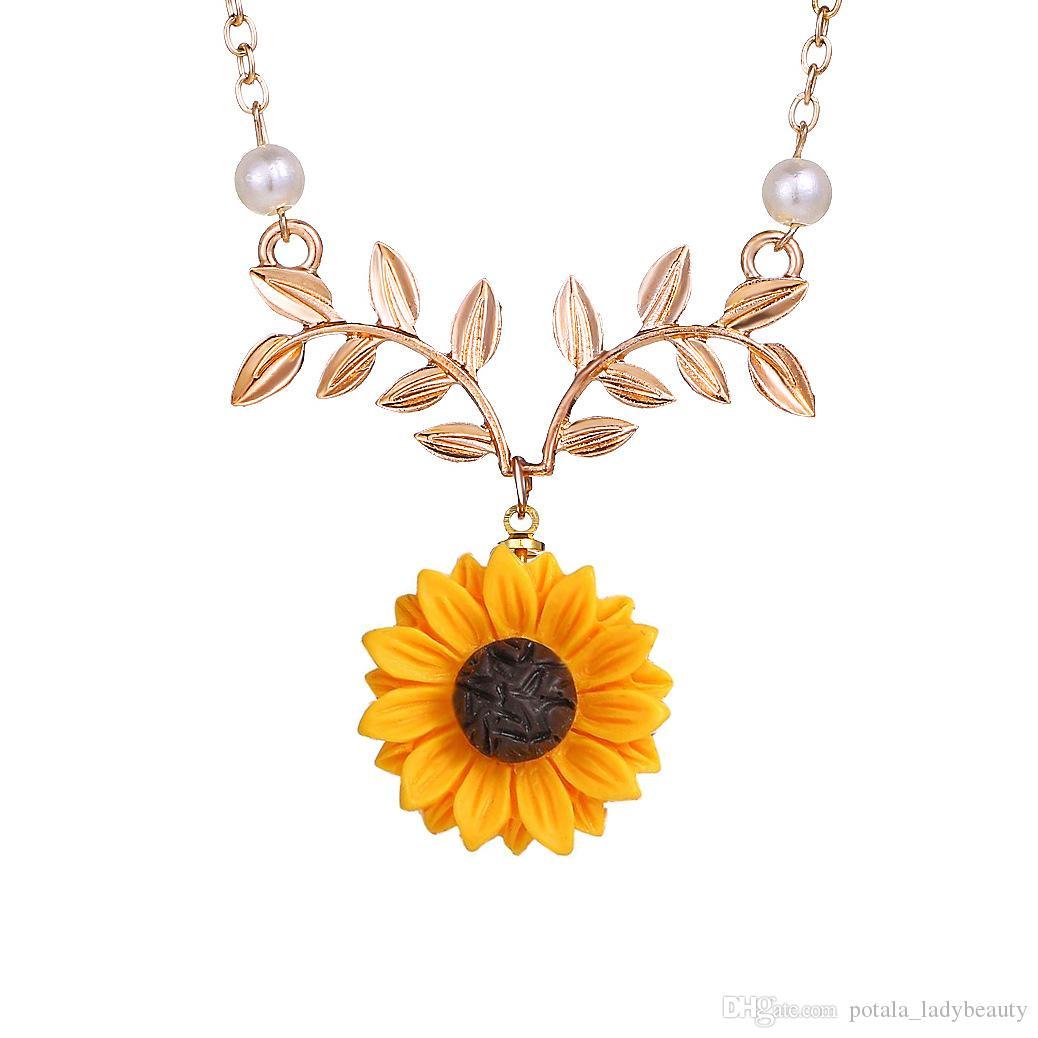 لؤلؤة الشمس زهرة قلادة المؤنث الأزياء عباد الشمس زهرة نبات قلادة سترة الاكسسوارات مزاج حساس رائعة المجوهرات شعبية