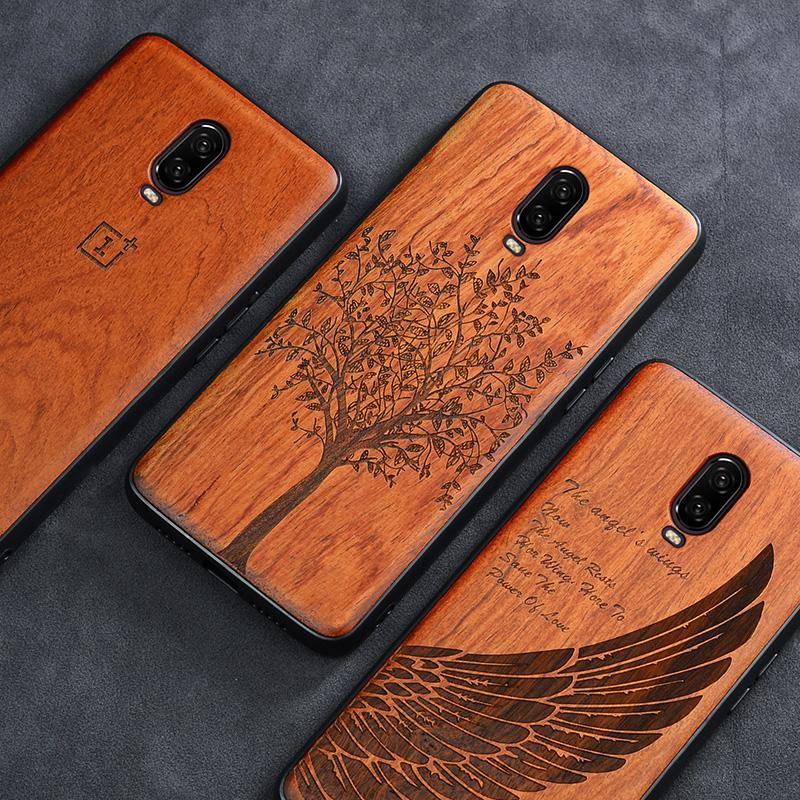 En gros 6 t cas Boogic Original véritable bois funda Oneplus 6T Palissandre TPU Antichoc Couverture Arrière Téléphone Shell Un plus 6T cas