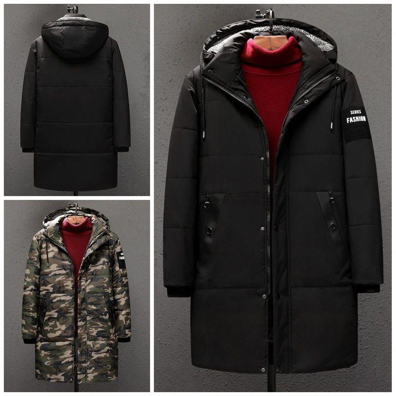 Wadded casual con Remocble Cap Negro Negro 2 Color camuflaje largo grueso de abrigo con capucha para hombre de la ropa del invierno abrigos hombre 198jwa E1