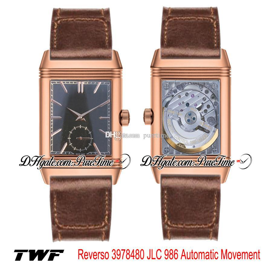 TWF Grande Reverso 3978480 JLC 986 Automatic Mens Watch Rose Gold Black Texture Dial Stick Markers Brown Leather Strap New Puretime 4D16