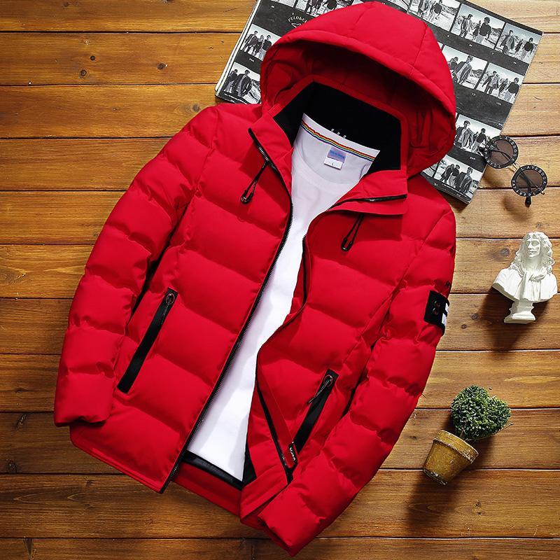 Kış Erkek Katı Renk Kısa Ceket, Moda İnce Kapşonlu Pamuk Giyim Isınma, Büyük Beden Günlük Gençlik Aşağı Ceket S-5XL S191128