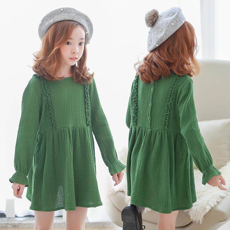 Новый малышей платья девушки хлопка платья Детские платья для девочек Детские осенние одежды детей хлопка платье принцессы милый, # 3546