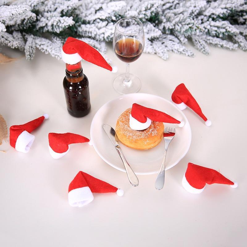 10PCS 핫 판매 미니 산타 클로스 모자 크리스마스 크리스마스 휴일 롤리팝 최고 토퍼 커버 축제 장식 도매