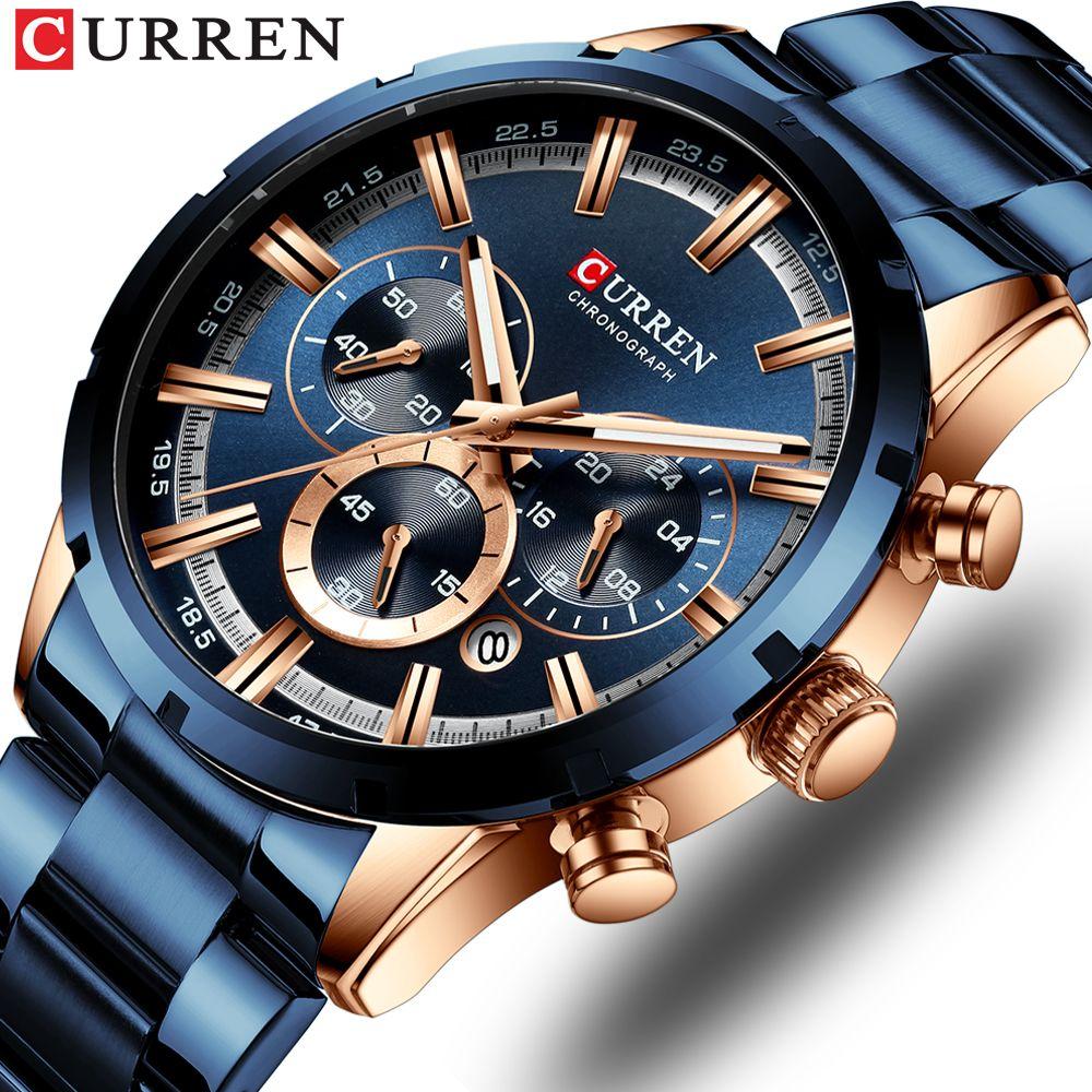 CURREN Nuovo Orologio Moda Uomo con l'acciaio inossidabile di marca superiore di lusso di sport del cronografo al quarzo uomini della vigilanza Relogio Masculino