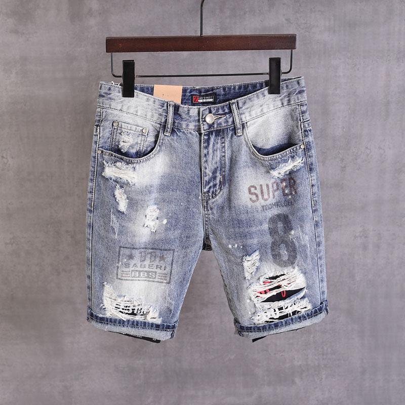 2020 New Designer Fashion Men Jeans Shorts Retro Blue Printed Designer Short Ripped Jeans Homme Summer Hip Hop Denim Shorts Men
