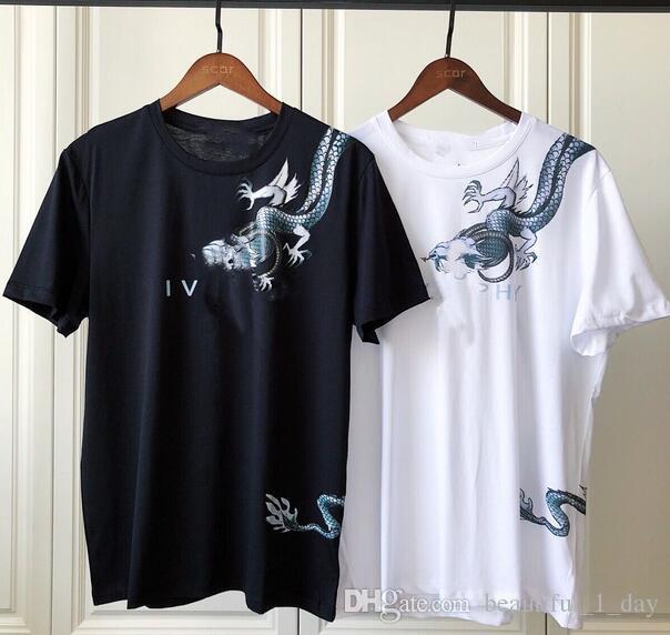 2019 nouveau dragon imprimé lettres à manches courtes hommes et femmes amoureux T-shirt de la mode des hommes T-shirt en coton T-shirt de haute qualité