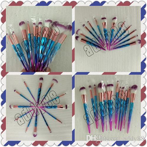 Hot Rainbow Diamond Makeup Brushes Set 12pcs Colorful Brush Powder Cream Foundation Eyeshadow Cosmetic Brush Professional Beauty Tools