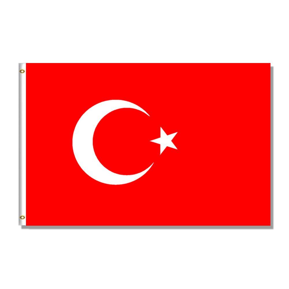 Turquía bandera nacional 3x5FT 150X90 CM 100D 100% poliéster Banner latón ojales para decoración colgante publicidad