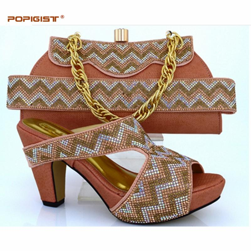 739488c6ed High Quality Rhinestone Decoration Bag And Shoes Matching Set Peach Color  Popular In African Shoes And Bag Set Loafer Shoes Shoes Uk From Alisport,  ...