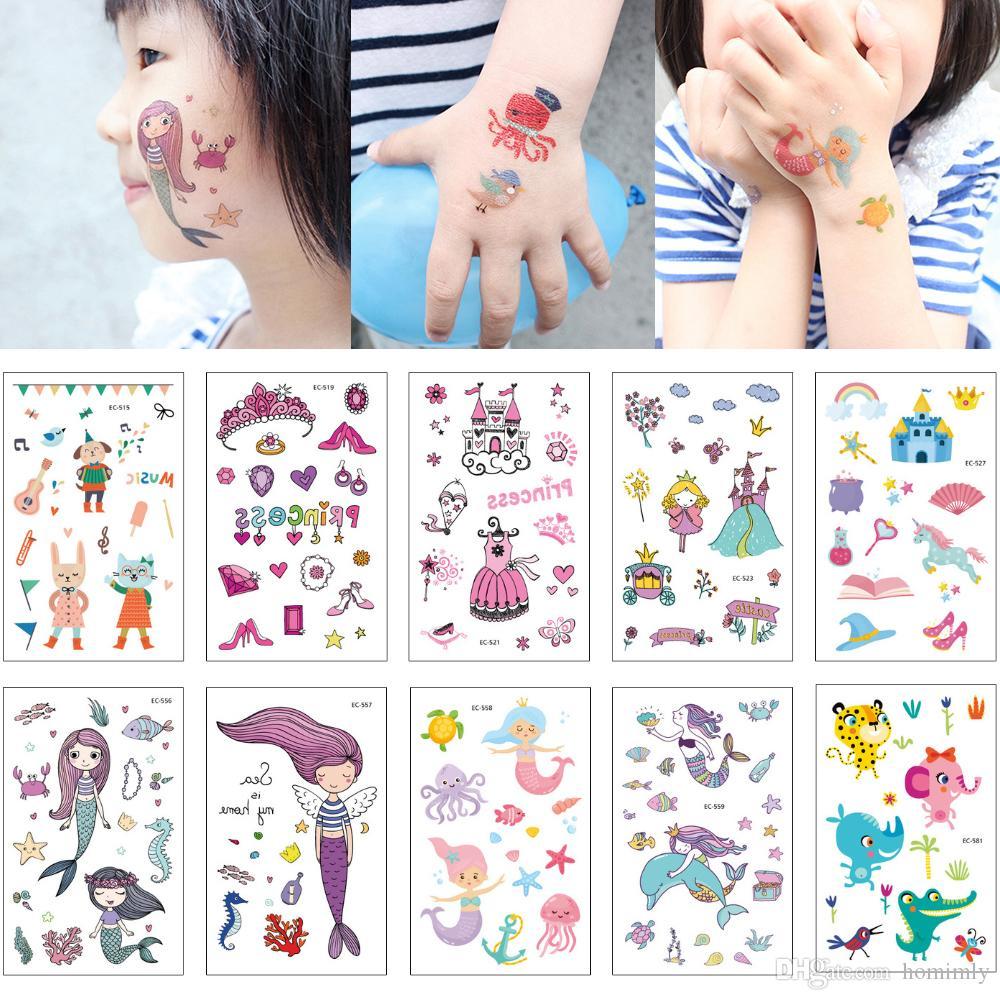 Niños lindo tatuaje temporal sirena castillo de la princesa del gato pulpo del arte de cuerpo del tatuaje de tarjetas de felicitación para el brazo Manos cuello de la cara del regalo de cumpleaños Moda