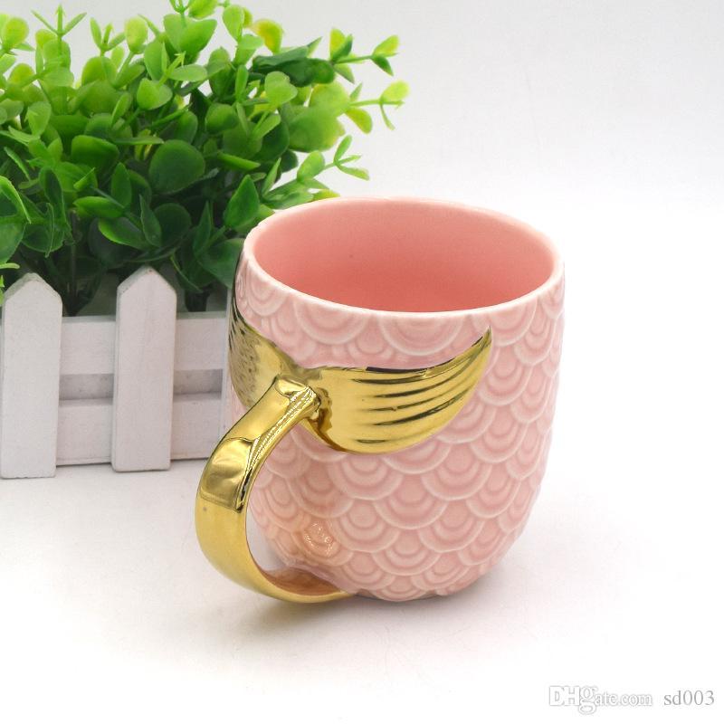 Sirena de moda Cerámica Taza de agua Cola de pescado Mango Leche Tazas de té Glaseado de perlas Taza de oro Exquisitos vasos 18zf k1