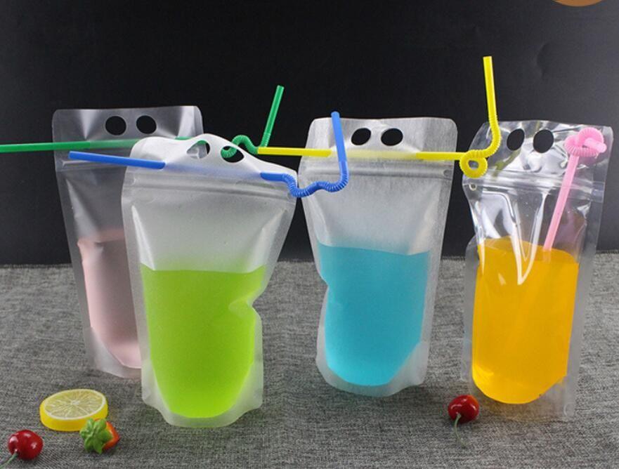 Novo Transparente Auto-selado Saco De Bebida De Plástico Bebida Leite Recipiente De Café Beber Suco De Frutas saco De Armazenamento De Alimentos Saco de 500 ml DHL livre