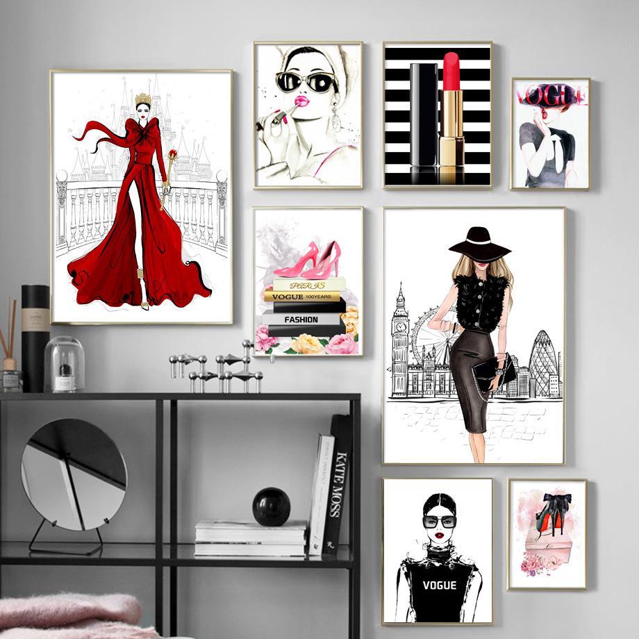 Fashion Book Fille Hauts talons Lipstick mur toile Peinture Affiches nordique et Impressions mur photos pour Living Room Decor