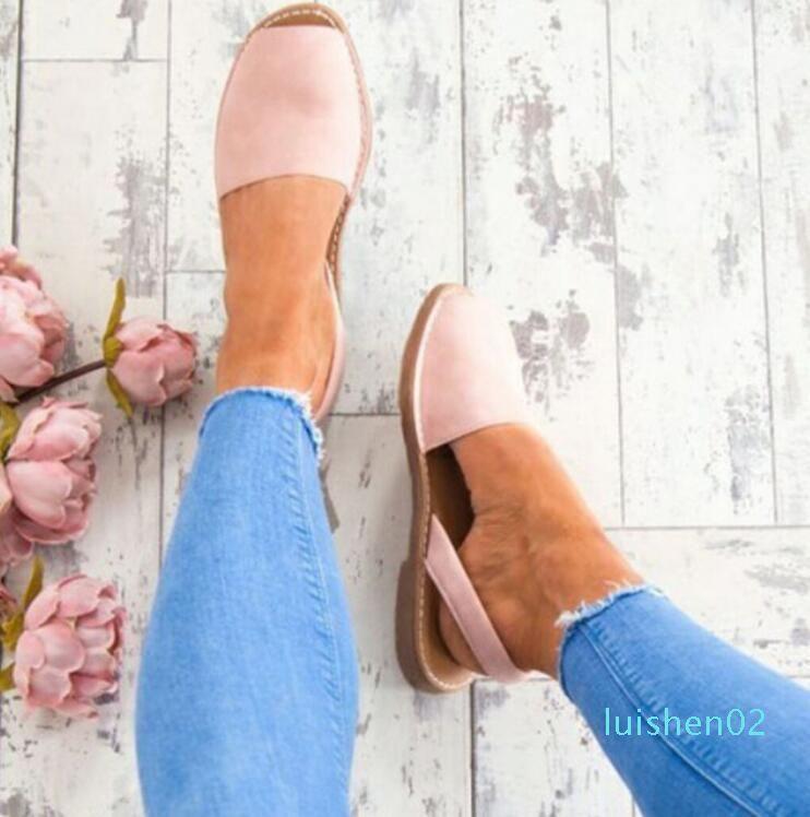 Kadınlar Plus Size 34-44 Ayakkabılar Kadın Peep Toe Düz Geri Kayış 2018 Yaz Sandalet Düşük Topuklar zapatos mujer L02