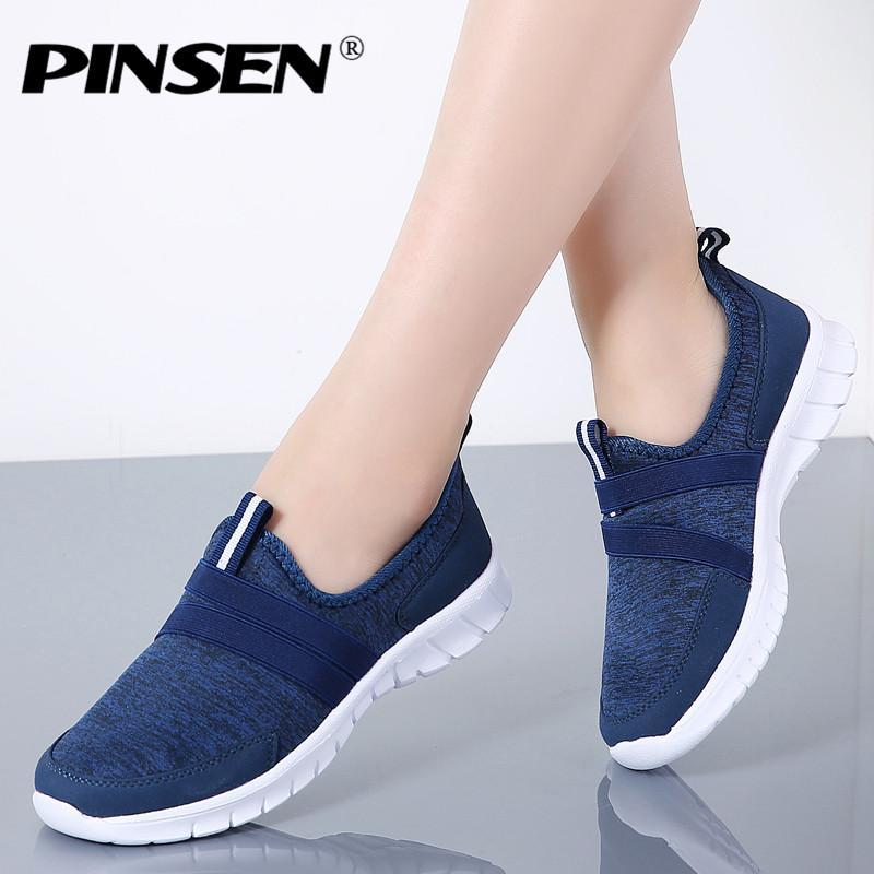 PINSEN 2019 Autumn Sneakers Women Breathable Mesh Shoes Woman Ballet Slip On Flats Loafers Ladies Shoes Creepers tenis