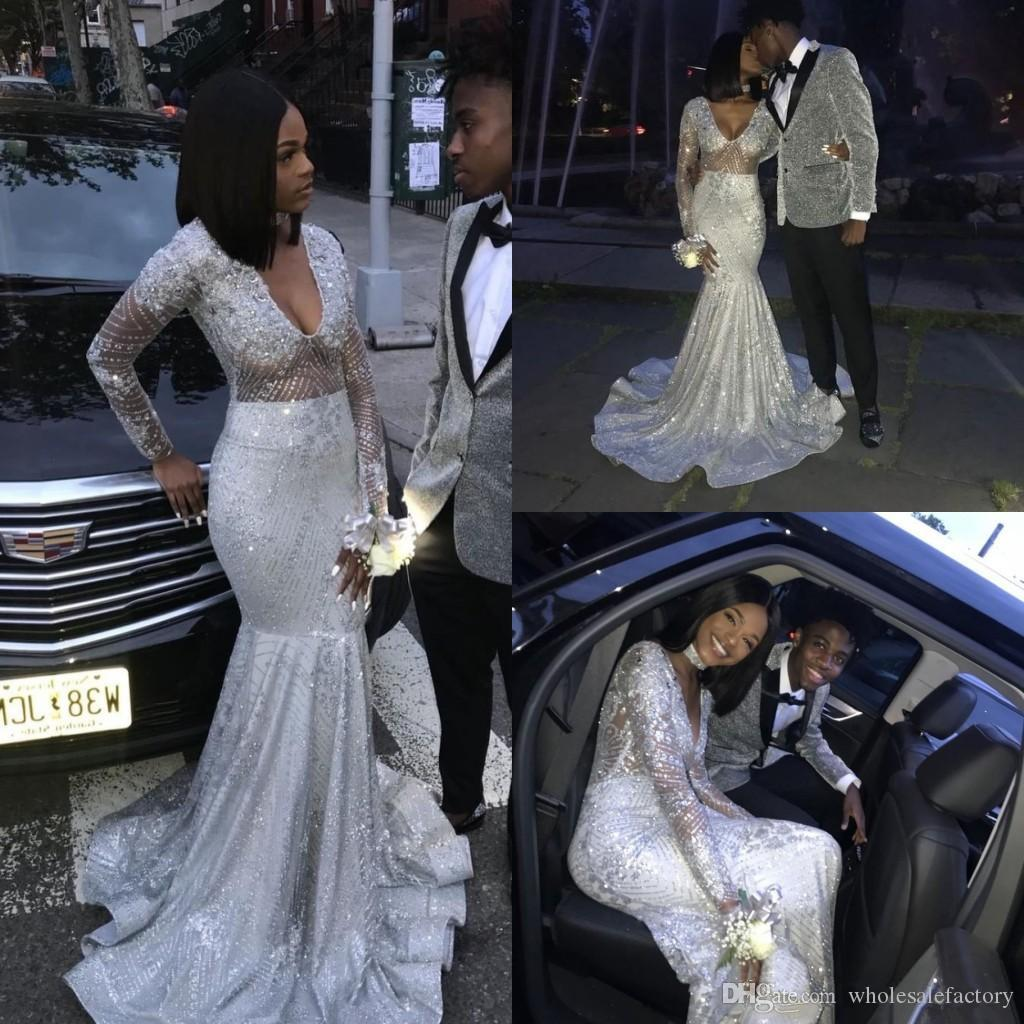 Black Girls V Neck Sequins Long Mermaid Prom Dresses 2020 Silver Long Sleeves Beaded Sweep Train Formal Party Evening Gowns BC0871