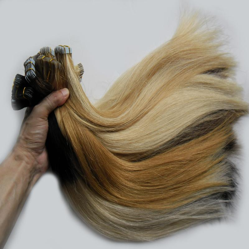 Fita de trama da pele em extensões de cabelo Remy fita em extensões de cabelo de trama de cabelo humano 100G 40Pcs loira