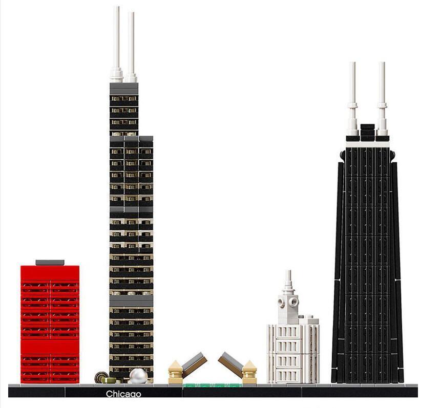 10677 شيكاغو الأفق اللبنات العمارة يحدد الألعاب التعليمية الكلاسيكية في المدينة للهدايا الأطفال متوافق legottly ل