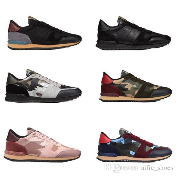 Moda Deri Süet Damızlık rockrunner kamuflaj Sneakers Ayakkabı Erkek Kadın Flats Lüks Tasarımcı Perçin Rockrunner Eğitmenler Rahat Ayakkabılar