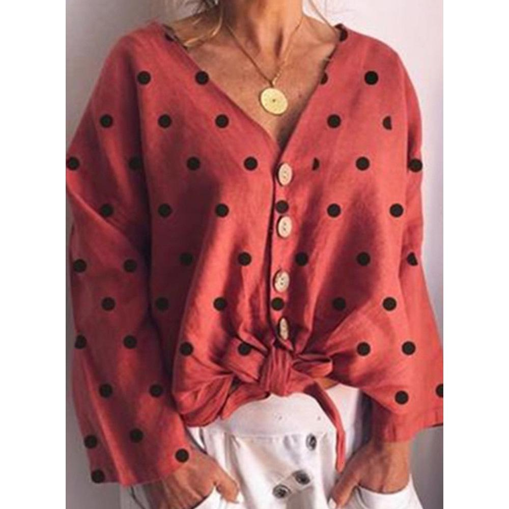 Fashion Lady Designer T Shirt 2019 Otoño Casual Moda Mujer Cuello en V Wave Print Chaqueta Camisa ajustada