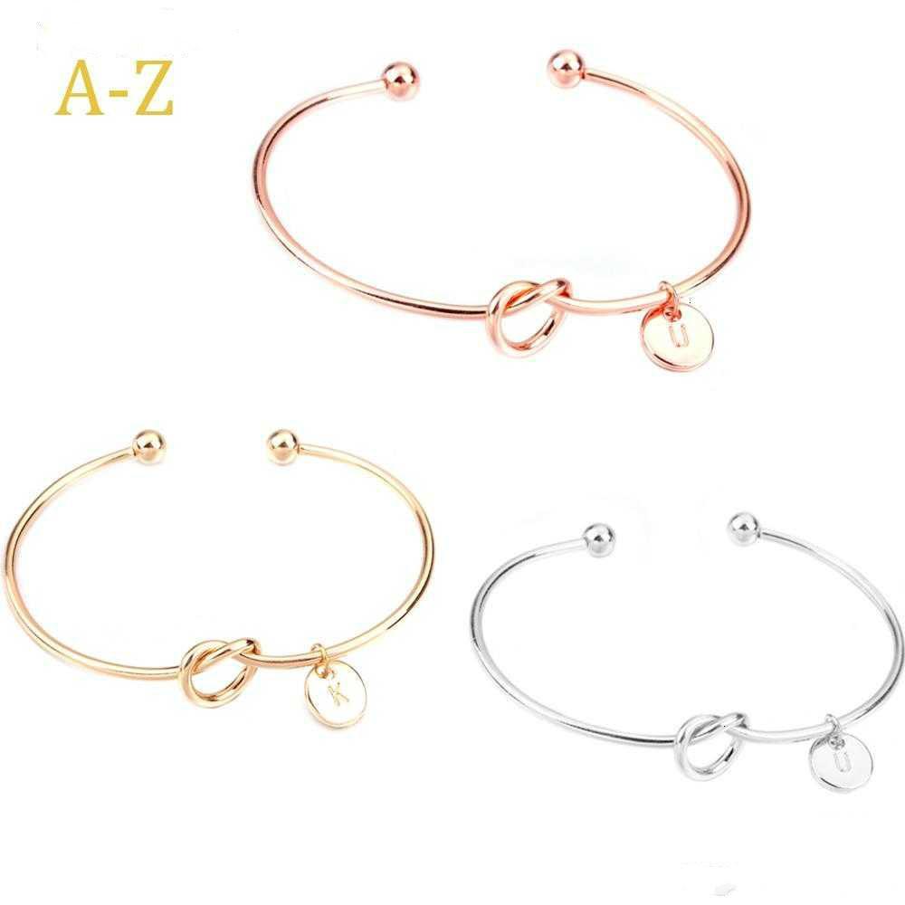 26 Buchstabe Rose Gold Silber Gold Farbe Knoten Herz-Armband-Armband-Mädchen-Art Schmuck Zink-Legierung runde hängende Kettenverbindungs-Armbänder