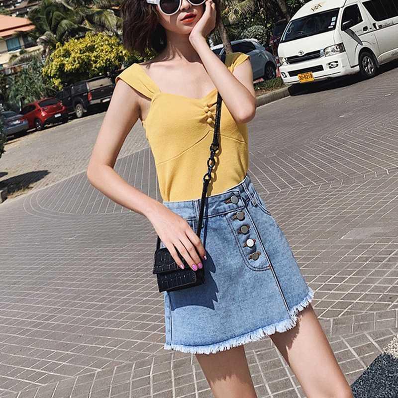 Nueva Primavera Verano solo Breasted alta cintura borla mujeres pantalones cortos Denim botones Casual sólido mujer Jeans pantalones cortos