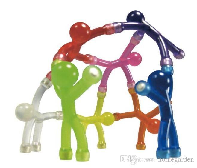 Wholesale-10pcs / lot Novelty Mini Flexible Q-Man Magnet Magnetic Toy Pliable figures with magnetic hands