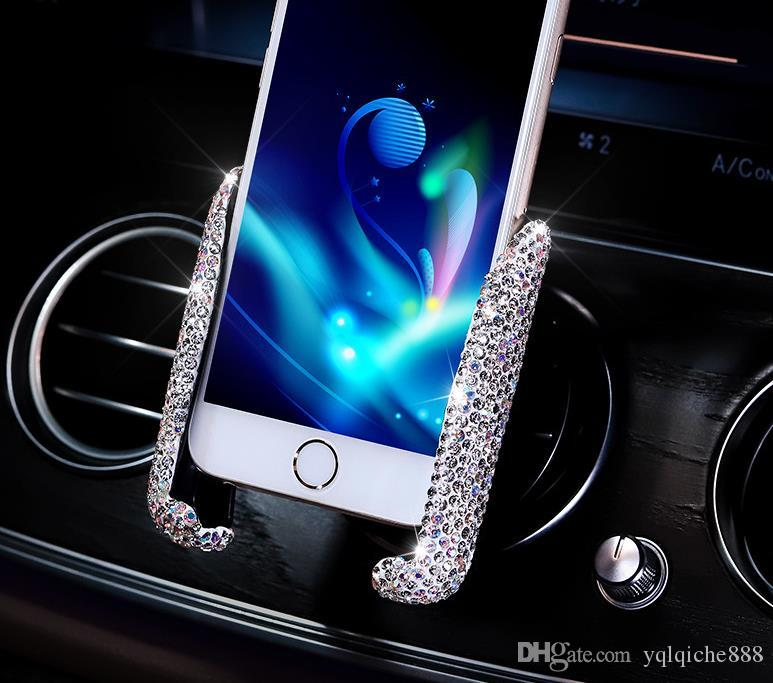 Car air outlet mobile phone holder, diamond gravity induction car bracket air outlet snap-on mobile phone holder with drill