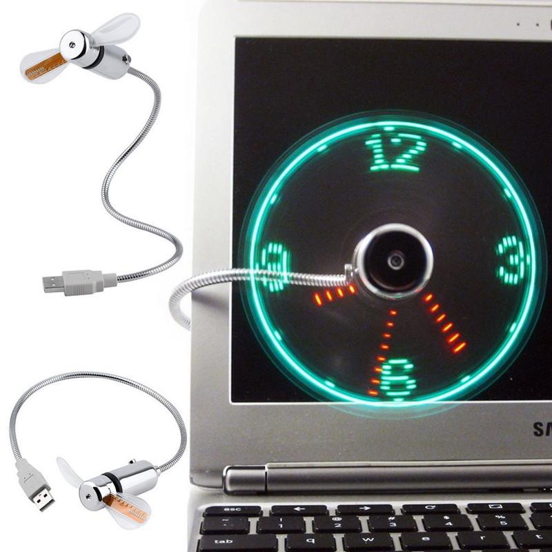 Hand Mini USB LED Clock Fan portable gadgets Flexible Gooseneck Cool For laptop PC Notebook real Time Display durable Adjustable