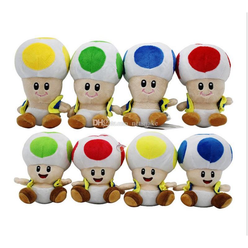 17cm / 7 인치 슈퍼 마리오 봉제 장난감 만화 슈퍼 마리오 버섯 아기 크리스마스 선물 박제 된 동물 머리