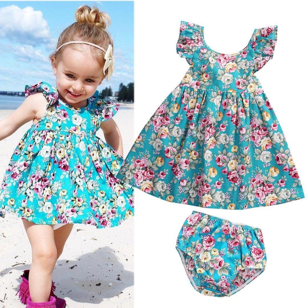 Cute Toddler Baby Girl Summer Clothing Ruffle Floral Sleeveless Dress Sundress Briefs Bottoms Two Piece Outfits Set