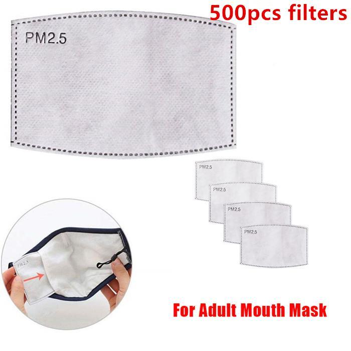 5 capas de filtros de papel Cara Máscaras PM 2.5 Filtro de carbón activado Cartucho filtrante de protección de inserción de soportes de 500pcs de la máscara de la boca