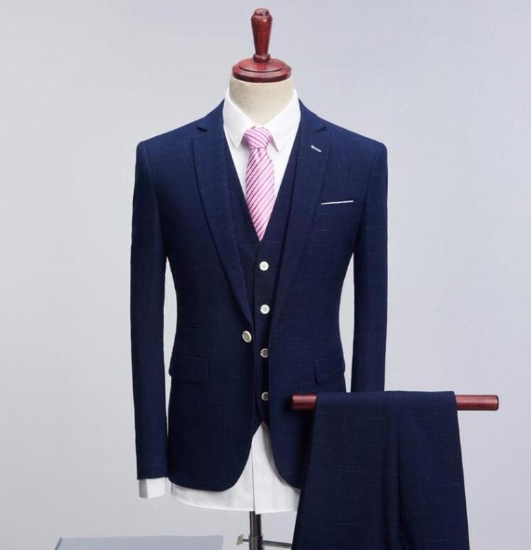 Traje para hombre de color sólido formal Business One Button 3-piezas traje casual de la boda del novio Trajes