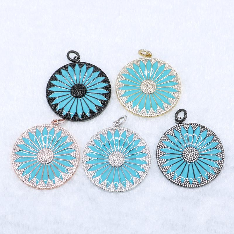 Mix color roudn charms Solar pendant pave zircon charms Round pendant for jewelry making Gift for lady High quality charms5071