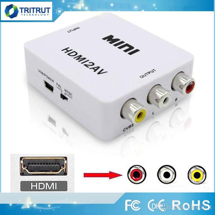 Video Adapter HDMI2AV 1080P HD mini HDMI al convertitore AV CVBS + L / R HDMI a RCA per Xbox 360 PS3 PC360 con confezione di vendita MQ20