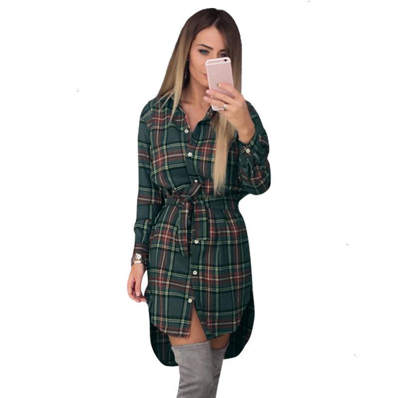 Vêtements pour femmes femmes Blouse Blouses femmes manches longues Chemises à carreaux Chemise à col Casual Tunique féminin irrégulier Plus Size Tops Lj5932m