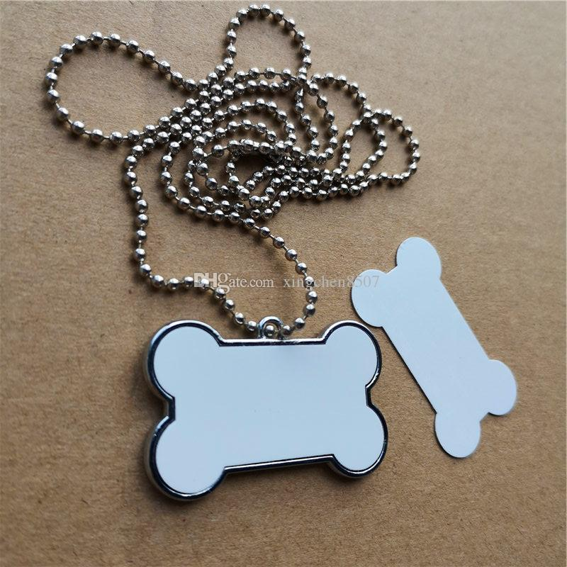 sublimation dog bone shape blank necklaces pendants hot transfer printing diy custom blank consumable can print two sides