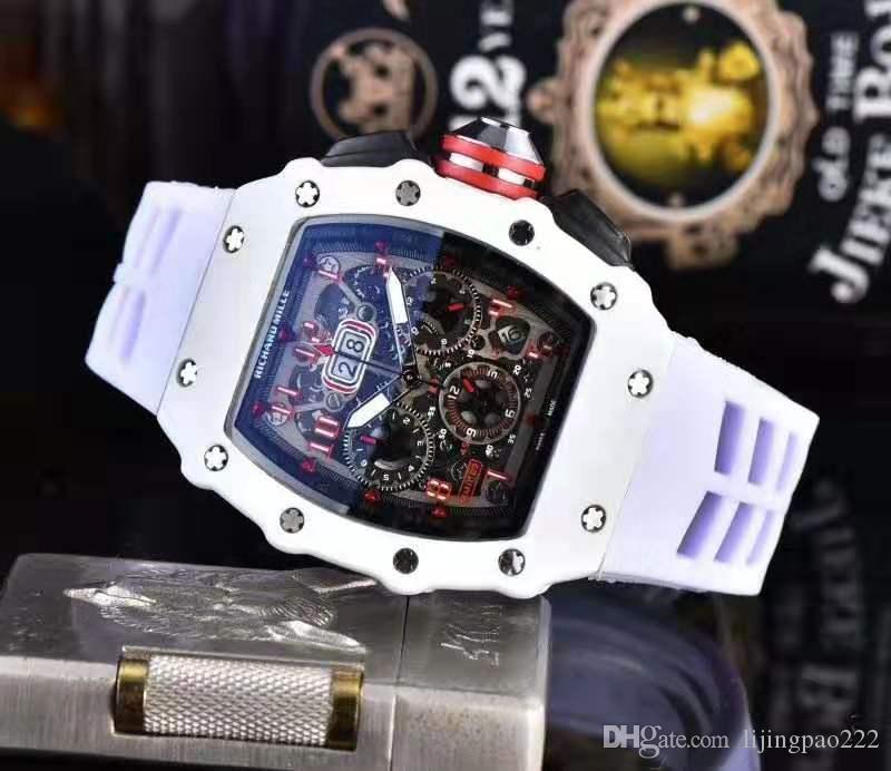 Homens pulseira de borracha Esporte Militar Relógio Quartz Negócios Assista presente Marca Top Mens Relógios Masculino Praça do Relógio Design Assista Men Chronograph
