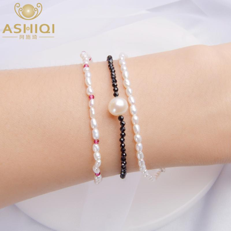 ASHIQI Real 2-3mm Natural Freshwater Pearl Strand Bracelet for Women with Black crystal Obsidian Jewelry Gift