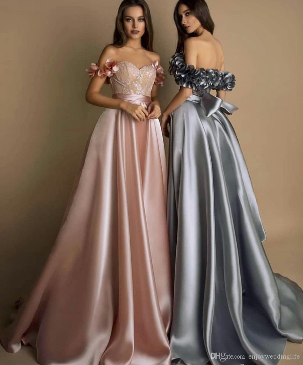 Satin Vintage Pink Prom Dresses 2020 Elegant Formal Party Dress Long Ribbons Evening Gown Vestido De Noche