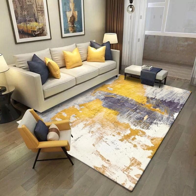 Alfombra decorativa moderna nórdica amarilla gris de la impresión del felpudo / de la estera de la cocina del dormitorio de la sala de estar moderna del área de la sala de estar