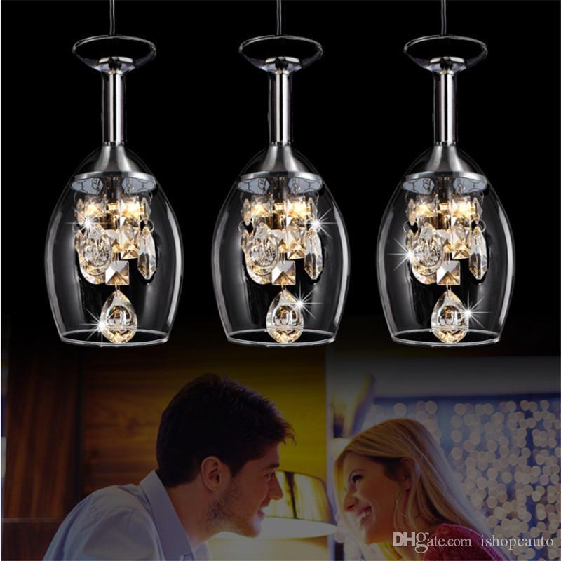 Современный минималистский привело ресторан лампа фужер бар и столовая лампа кристалл подвесной светильник творческой личности художественное стекло люстра STJX16