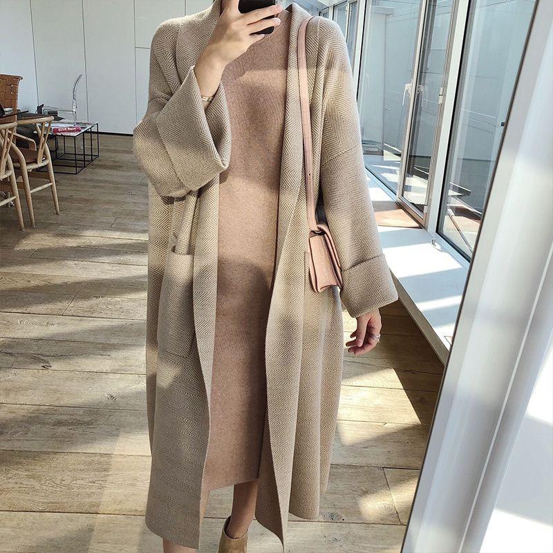2020 İlkbahar Kış Şık Palto Gevşek Örme Hırka Yün Triko Oversize Ekstra Yumuşak Hırka Örgü Coat Kadınlar T200113