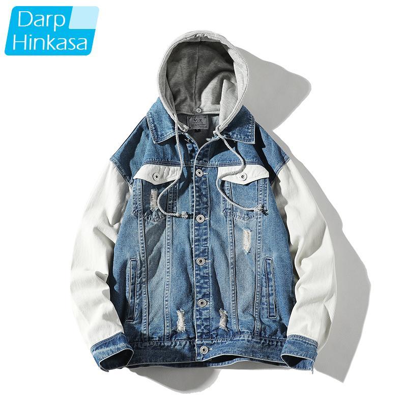 DARPHINKASA Men Hooded Denim Jacket Hole Stitching High-quality Cotton Denim Jacket Hip-hop Casual Men Large Size 5XL