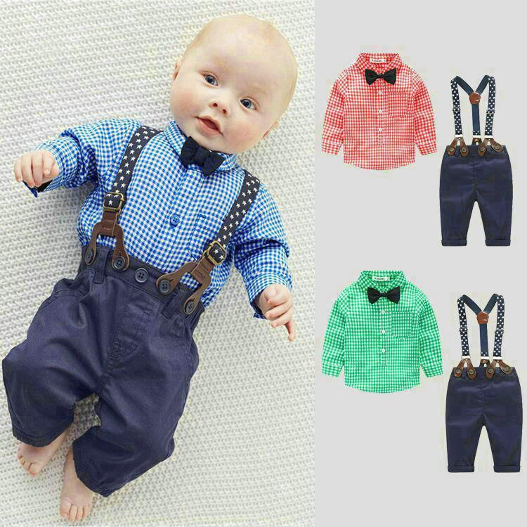 아기 소년 의류 소년 의류 세트 셔츠 + 바지 긴 소매 셔츠 신사 두 정장 나비 넥타이 의상 키즈 옷 파티 드레스