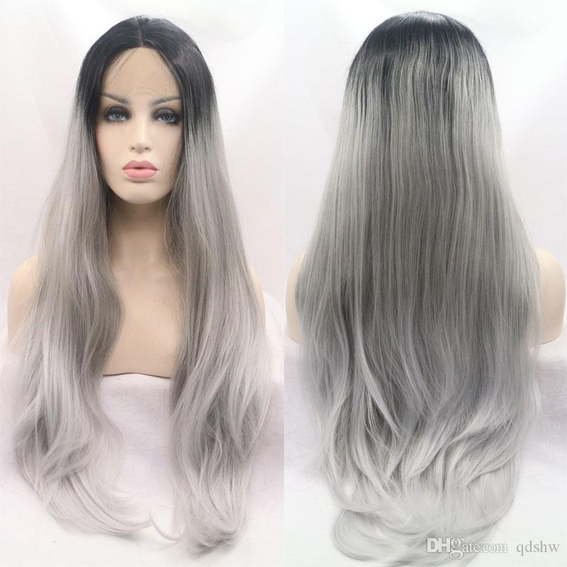 Synthetic Front Lace Wigs Grey Ombre Dark Root Heat Resistant Straight Silver Gray Synthetic Lacefront Wig With Natural Hairline For Women