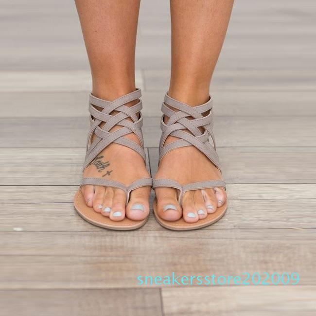 Mulheres sapatos baixos calcanhar Roma Sandálias 2018 Hot Sale Hollowed Sandálias Flops respirável Verão Plus Size Female preto / cinza / 09s-de-rosa