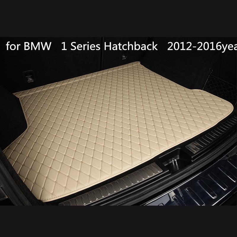 BMW 1 Serisi Hatchback 2012-2016year araç kaymaz mat için özel bir anti-patinaj deri araba bagajı paspas paspas uygun
