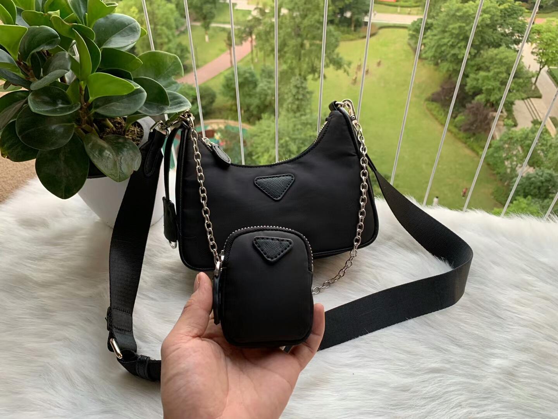 kadın 2adet / Naylon Göğüs paketi bayan Bez zincirlerinin çanta presbiyopik çanta haberci crossbody torba tuval seti omuz çantası waterproaf